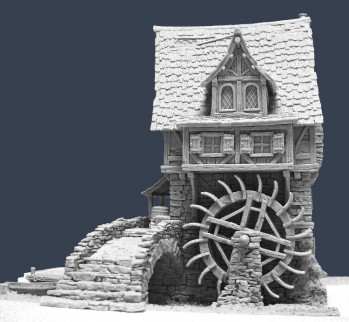 Tabletop World Watermill with River Base